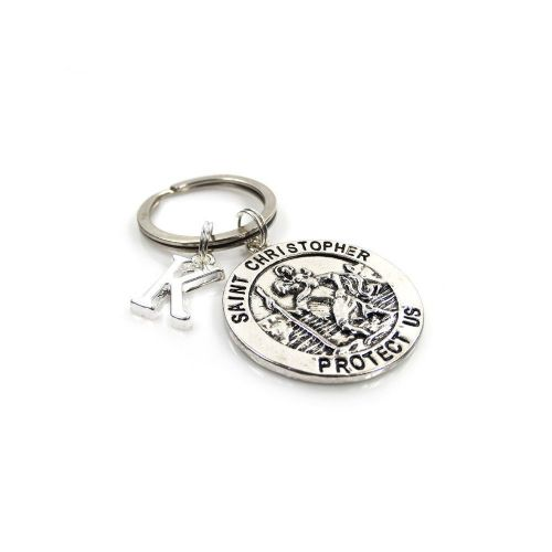 Personalised St Christopher Keyring with Initial Charm and Optional Birthstone (1)